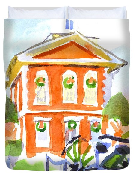 Christmas Courthouse II Duvet Cover