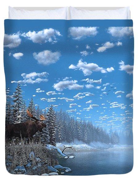 Christmas Day At Moose Lake Duvet Cover