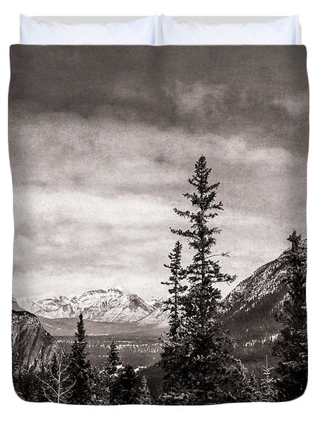 Christmas Day In Banff Bw Duvet Cover