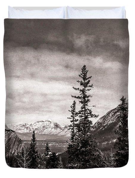 Christmas Day In Banff Bw Duvet Cover