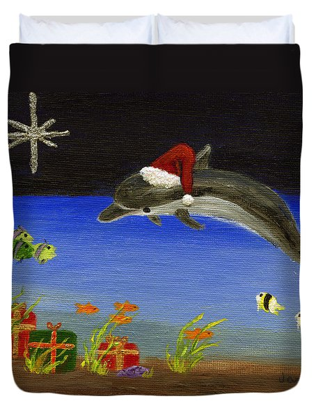 Christmas Dolphin And Friends Duvet Cover by Jamie Frier