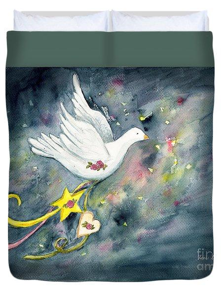 Christmas Dove In Flight Duvet Cover
