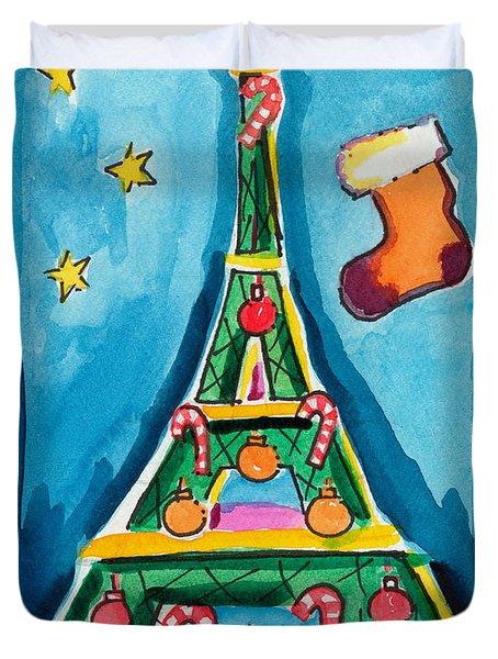Christmas Eiffel Tower Painting Duvet Cover
