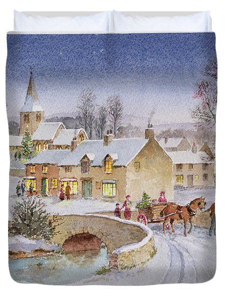 Christmas Eve In The Village  Duvet Cover by Stanley Cooke