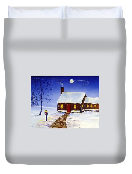 Duvet Cover featuring the painting Christmas Eve by Lee Piper