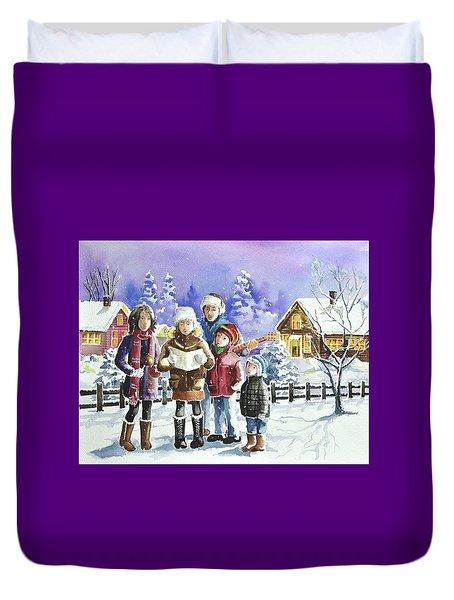 Christmas Family Caroling Duvet Cover