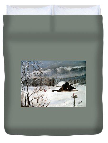Christmas Farm House Duvet Cover