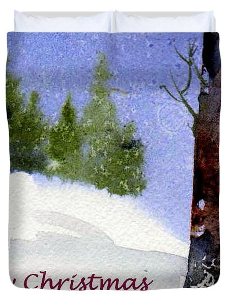 Duvet Cover featuring the painting Christmas Forest 02 by Anne Duke