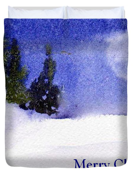 Duvet Cover featuring the painting Christmas Forest  03 by Anne Duke