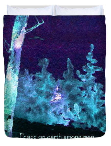 Duvet Cover featuring the painting Christmas Forest by Anne Duke