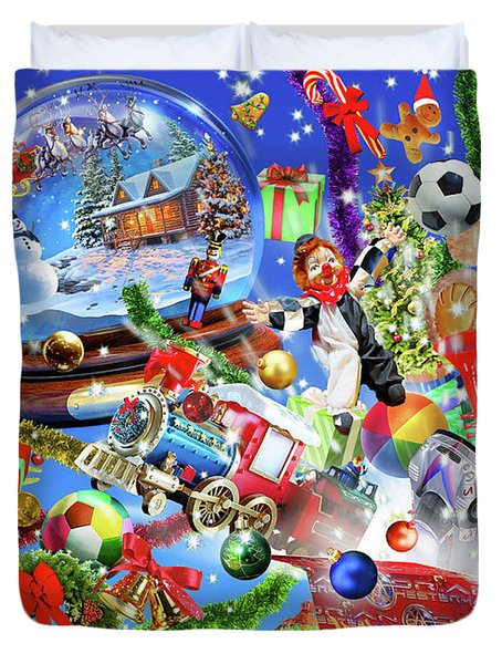 Christmas Globe Landscape Duvet Cover