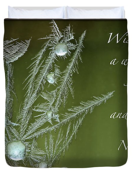 Duvet Cover featuring the mixed media Christmas Greeting Card Ice Flowers by Peter v Quenter