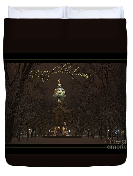 Christmas Greeting Card Notre Dame Golden Dome In Night Sky And Snow Duvet Cover