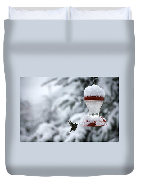 Duvet Cover featuring the photograph Christmas Hummingbird by Katie Wing Vigil