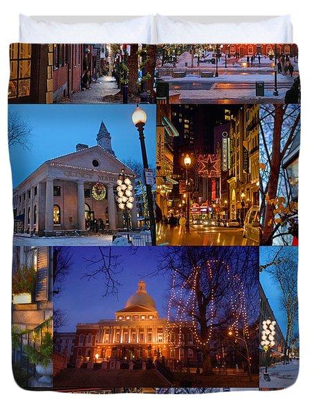 Christmas In Boston Duvet Cover by Joann Vitali