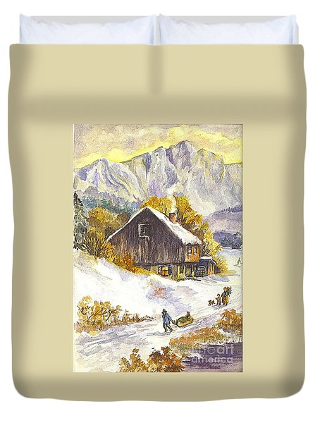 Duvet Cover featuring the painting A Winter Wonderland Part 1 by Carol Wisniewski