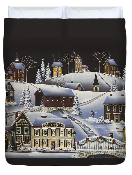 Christmas In Fox Creek Village Duvet Cover by Catherine Holman