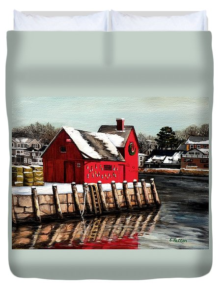 Christmas In Rockport Duvet Cover by Eileen Patten Oliver