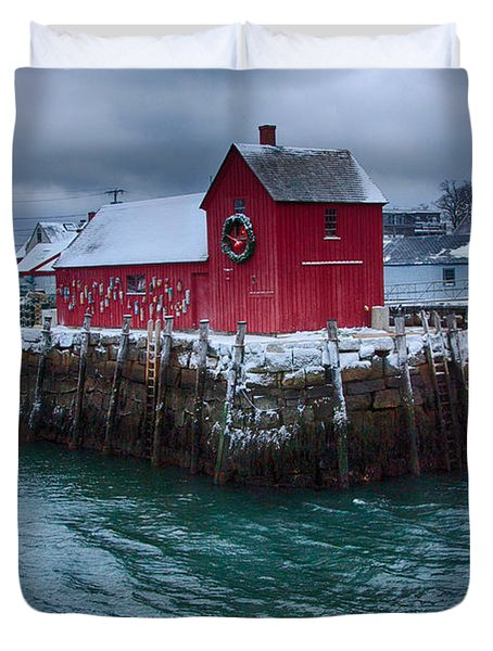 Christmas In Rockport Massachusetts Duvet Cover