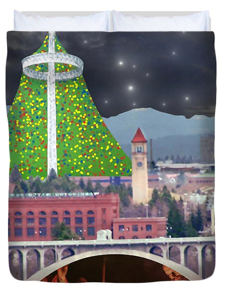 Christmas In Spokane Duvet Cover