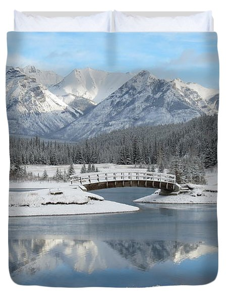 Christmas In The Rockies Duvet Cover