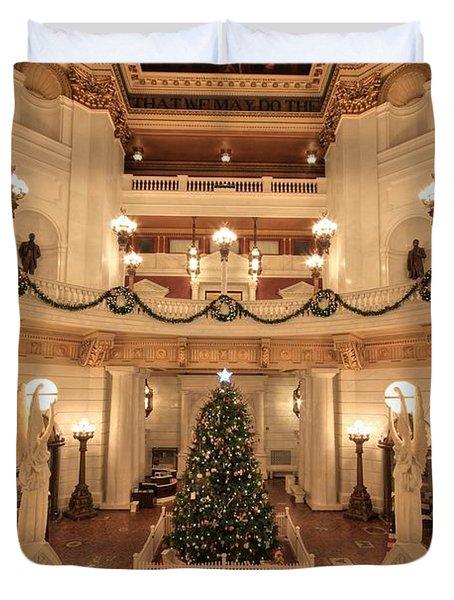 Christmas In The Rotunda Duvet Cover