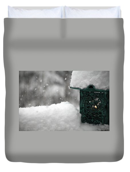 Duvet Cover featuring the photograph Christmas Lantern by Katie Wing Vigil