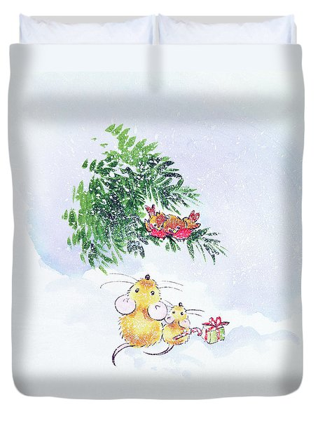 Christmas Mice And Robins Duvet Cover by Diane Matthes