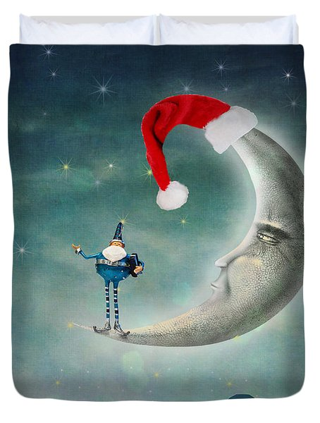 Christmas Moon Duvet Cover by Juli Scalzi