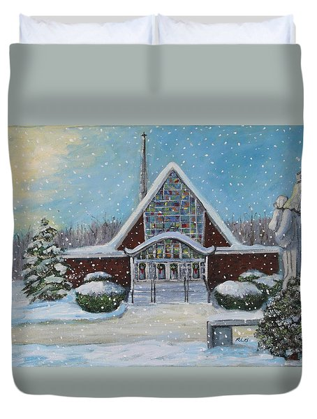 Duvet Cover featuring the painting Christmas Morning At Our Lady's Church by Rita Brown