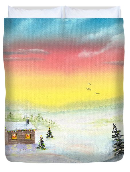 Duvet Cover featuring the painting Christmas Morning by Mary Scott