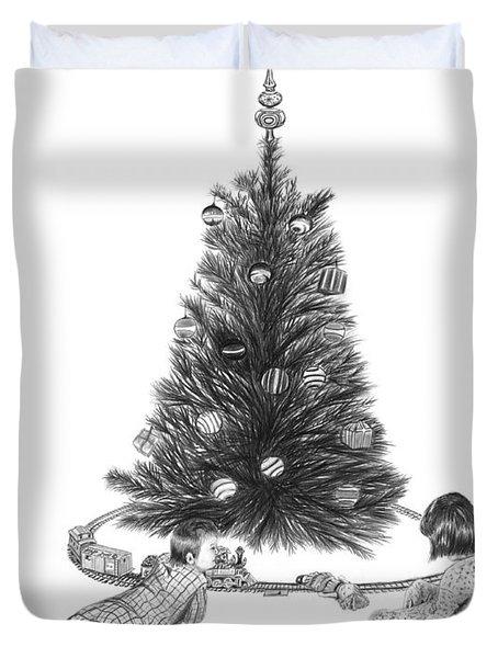 Christmas Morning Play  Duvet Cover by Peter Piatt