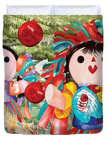 Christmas Munecas Duvet Cover
