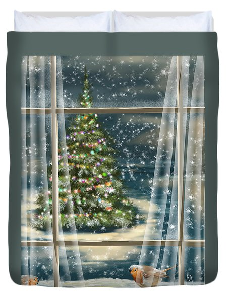 Christmas Night Duvet Cover by Veronica Minozzi