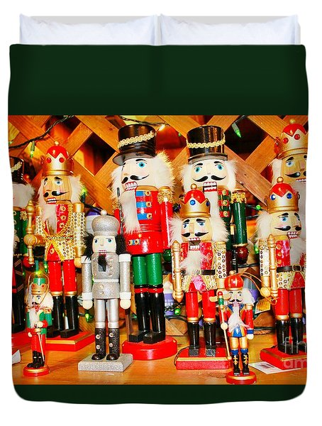 Duvet Cover featuring the photograph Christmas Nutcrackers by Judy Palkimas