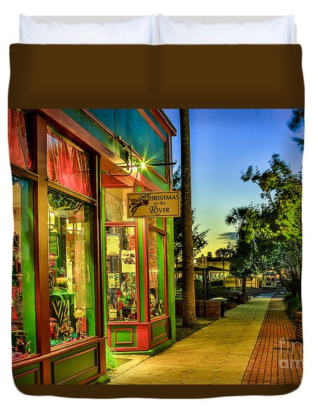 Duvet Cover featuring the photograph Sunset Christmas Store by Paula Porterfield-Izzo