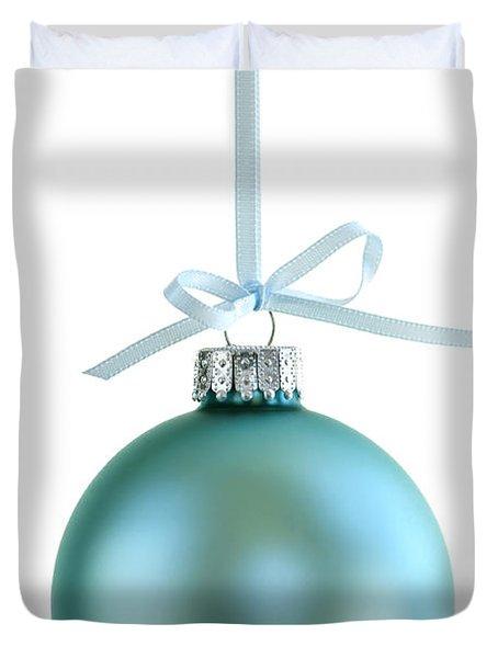 Christmas Ornament On White Duvet Cover by Elena Elisseeva