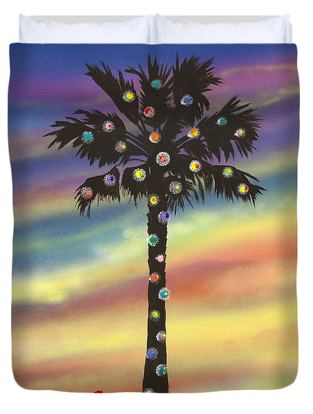 Duvet Cover featuring the painting San Clemente Christmas by Mary Scott