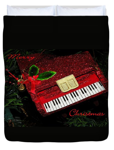 Duvet Cover featuring the photograph Christmas Piano Card by Rosalie Scanlon