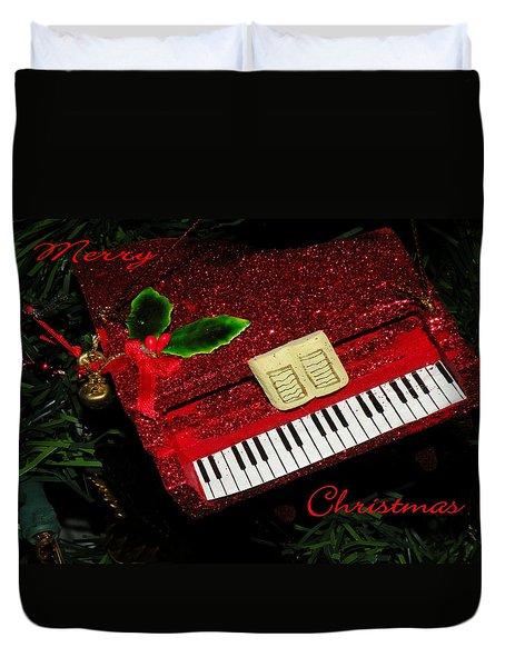 Christmas Piano Card Duvet Cover by Rosalie Scanlon