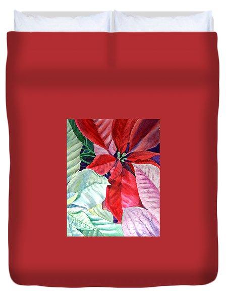 Christmas Poinsettia Duvet Cover by Irina Sztukowski