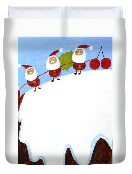 Duvet Cover featuring the painting Christmas Pudding And Santas by Magdalena Frohnsdorff