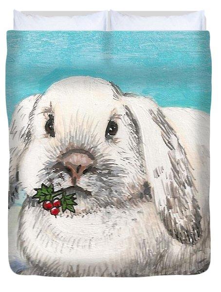 Christmas Rabbit Duvet Cover by Margaryta Yermolayeva