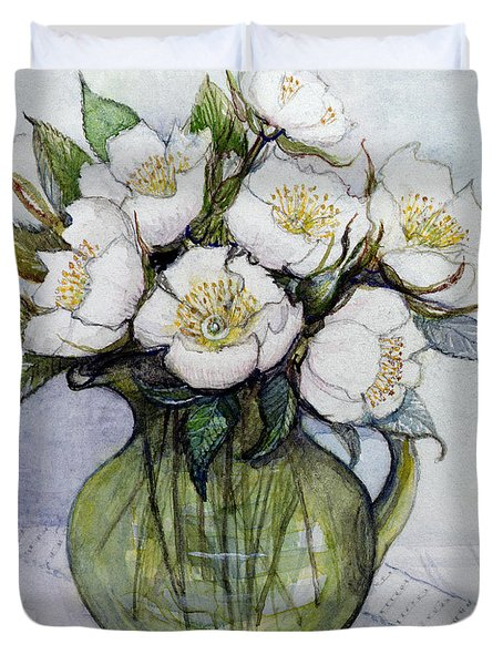 Christmas Roses Duvet Cover by Gillian Lawson