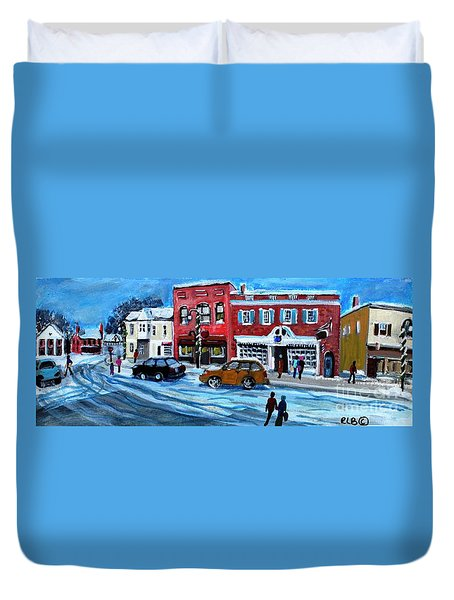 Christmas Shopping In Concord Center Duvet Cover