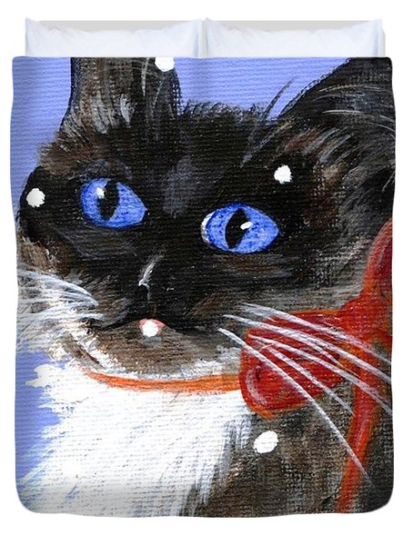 Christmas Siamese Duvet Cover by Jamie Frier