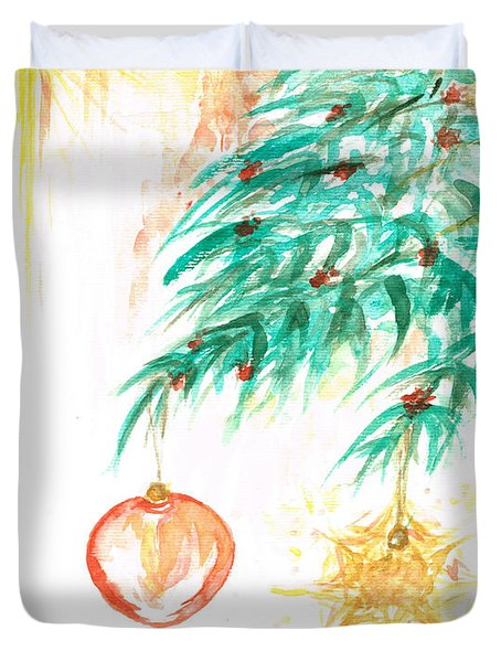 Duvet Cover featuring the painting Christmas Star by Teresa White