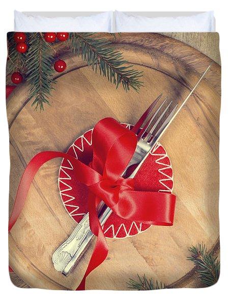 Christmas Table Setting Duvet Cover by Amanda Elwell
