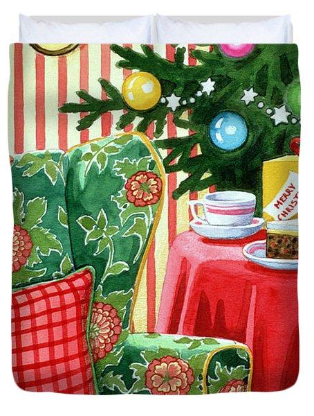 Christmas Tea Duvet Cover by Lavinia Hamer