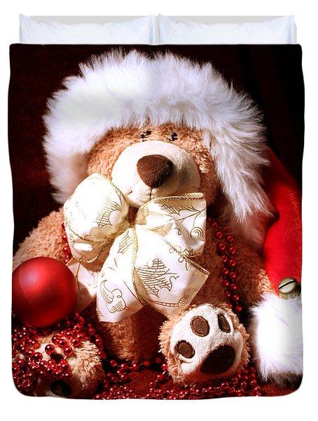 Christmas Teddy Duvet Cover by Terri Waters